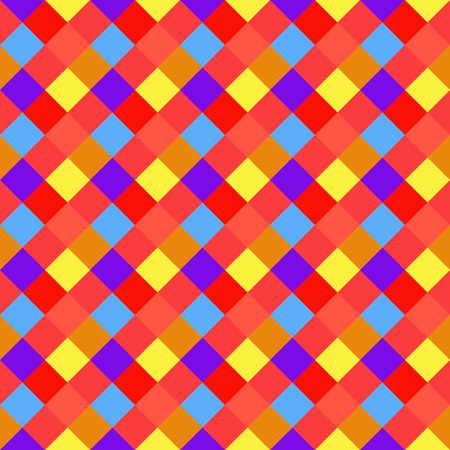 rhombic: Seamless geometric checked pattern. Diagonal square, braiding, woven line background. Patchwork, rhombus, staggered texture. Baby, festival, clown, holiday colors. Vector Illustration