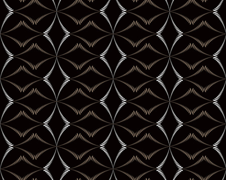 braiding: Seamless geometric abstract pattern. Diagonal rhomb shaped, braiding figure texture. Unusual rhombus bands, lines on dark background. Brown, black, gray colors. Vector Illustration