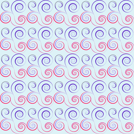 Seamless floral spiral pattern. Swirl, twirl lines. Twist, whirl, torsional ornament on light background. Blue, white red colored. Vector Illustration