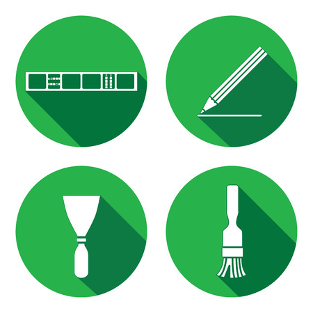 plastering: Tool icons set. Spattle, brush, surfacer, plastering instrument. Painting device. Work, job, labour, toil, repair, building symbol. White sign on round button with long shadow. Vector isolated