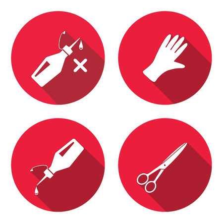 Tool icons set. Glue, rubber gloves, scissors. Repair, fix, cut, protection symbol. White sign on round button with long shadow. Vector isolated