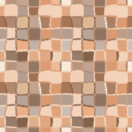 spliced: Seamless geometric mosaic checked pattern. Background of woven rectangles and squares. Patchwork, ceramic, tile texture. Gray, brown, beige colors. Vector