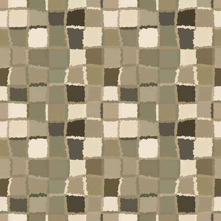 brindled: Seamless geometric mosaic checked pattern. Background of woven rectangles and squares. Patchwork, ceramic, tile texture. Gray, green colors. Vector