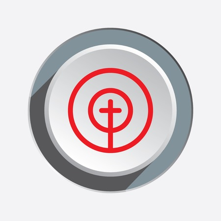 Crosshair sign icon. Target, end, objektive, aim symbol. Red silhouette on round white three dimensional button. Vector isolated