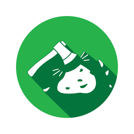 Tool icon. Axe, hache instrument. Working, unskilled, toil waste unable useless method symbol. White sign on round button with long shadow. Vector