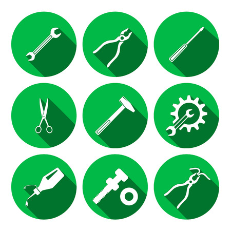 screw key: Tools icons set. Glue, pliers, tongs, wrench key, cogwheel, hammer, screw bolt, nut, scissors. Repair, fix tool symbols. Round green colored circle flat signs with long shadow. Vector Illustration