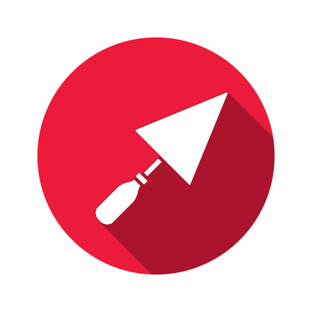 plastering: Tool icon. Spattle, surfacer, plastering instrument. Work, job, labour, toil, repair, building symbol. White sign on round red button with long shadow. Vector isolated Illustration