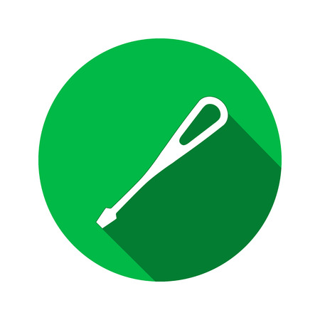 turnscrew: Tool icon. Screwdriver, turnscrew instrument. Industrial, fixing, support hardware service symbol. White sign on round green flat button. Vector