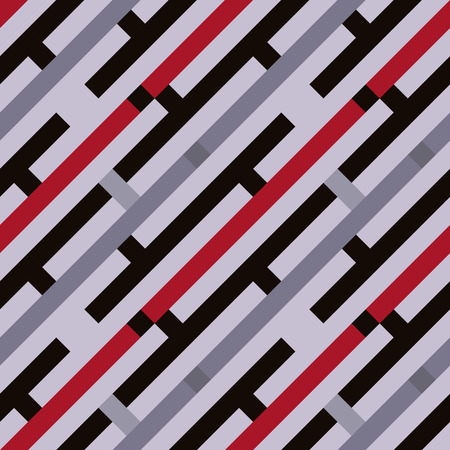 striated: Seamless geometric stripy pattern. Texture of diagonal strips, lines. Red, gray colored striped background with rectangles. Vector