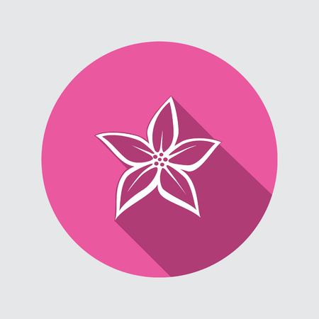 Orchid flower icons. Floral symbol. Round white sign on flat button with long shadow. Vector Illustration
