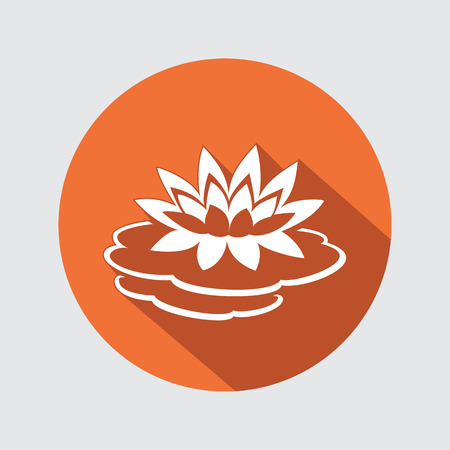 nymphaea: Lily flower icon. Water-lilies, waterlily floral symbol. Round circle flat sign with long shadow. Vector Illustration