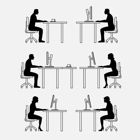 premises: Architectural set of furniture with people. Sitting man, woman. Front view. Interiors elements for house, office, premises. Thin lines icons. Computer, table, chair. Standard size. Vector