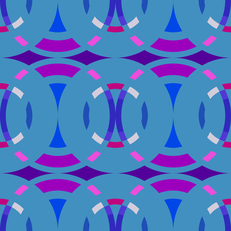 braiding: Seamless geometric abstract pattern. Rombus, circle view braiding figure texture. Blue, lilac, magenta colored background. Vector