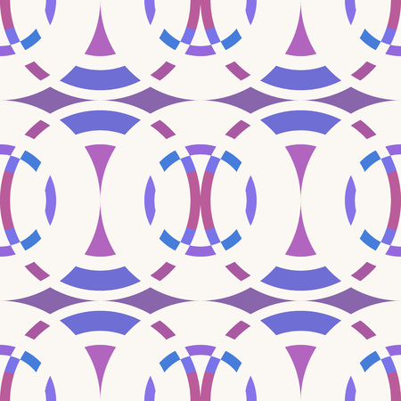 braiding: Seamless geometric abstract pattern. Rombus, circle view braiding figure texture. White, violet, lilac colored background. Vector