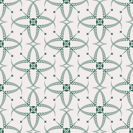 ceremonial: Religion seamless pattern. Laurel wreath, lace view texture with cross. Ceremonial, funeral background. Swirl stylized ornament. White, green colored. Vector