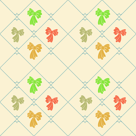 striated: Seamless geometric baby pattern. Texture of diagonal strips, lines, bows. Soft orange, green, gray figures on cream background. Children, hipster colored. Vector Illustration