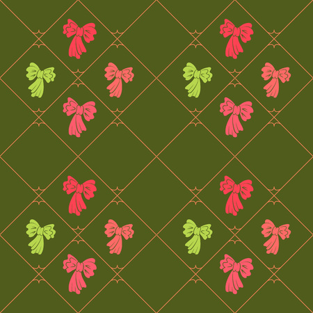 striated: Seamless geometric baby pattern. Texture of diagonal strips, lines, bows. Soft rosy, yellowgreen figures on green background. Children, hipster colored. Vector Illustration