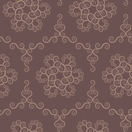 volute: Spiral seamless lace pattern. Vintage abstract texture. Volute, twirl figures of laurel leaves. Brown, beige contrast colored background. Vector
