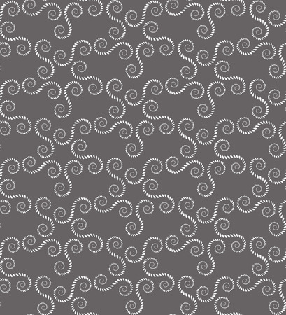 volute: Spiral seamless lace pattern. Vintage abstract texture. Volute, twirl figures of laurel leaves. Gray contrast colored background. Vector Illustration
