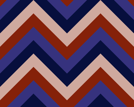 brindled: Striped, zigzagging seamless pattern. Zig-zag line texture. Stripy geometric background. Dark red, rosy, blue contrast colored. Vector