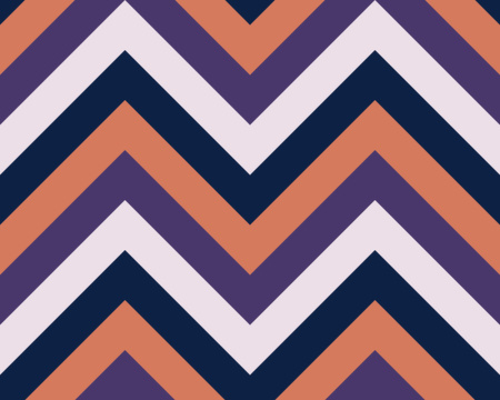 striated: Striped, zigzagging seamless pattern. Zig-zag line texture. Stripy geometric background. Dark orange, rosy, violet, black contrast colored. Vector