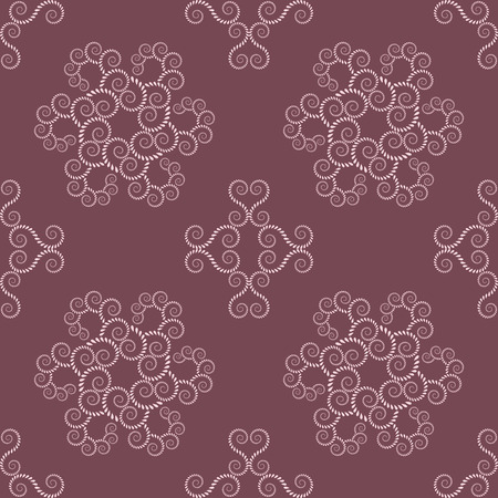 volute: Spiral seamless lace pattern. Vintage abstract texture. Volute, twirl figures of laurel leaves. Vinous, rosy contrast colored background. Vector Illustration