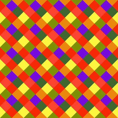 brindled: Seamless geometric checked pattern. Diagonal square, braiding, woven line background. Patchwork, rhombus, staggered texture. Baby, festival, clown, holiday colors. Vector Illustration