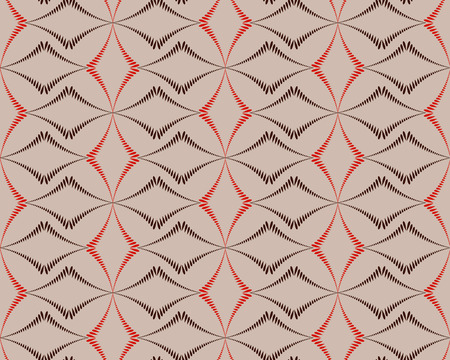 braiding: Seamless geometric abstract pattern. Diagonal rhomb shaped, braiding figure texture. Unusual rhombus bands, lines on dark background. Brown, orange, beige colors. Vector