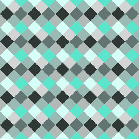 braiding: Seamless geometric checked pattern. Diagonal square, braiding, woven line background. Patchwork, rhombus, staggered texture. Turquoise, gray, aqua colors. Winter theme. Vector