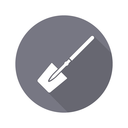 unskilled: Tool icon. Spade, shovel instrument. Work, job, labour, toil, repair, unskilled, building symbol. White sign on round button with long shadow. Vector isolated
