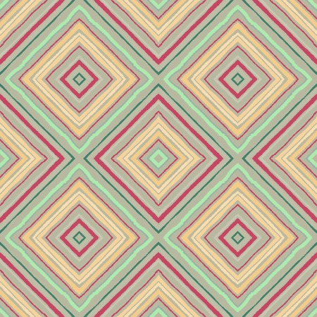 Striped diagonal rectangle seamless pattern. Square rhombus lines with torn paper effect. Ethnic background. Yellow, pink, rosy, blue, white colors. Vector