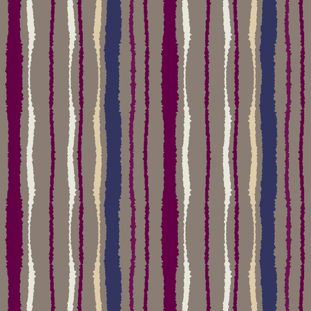 torn edge: Seamless strip pattern. Vertical lines with torn paper effect. Shred edge texture. Brown, violet, cream colored background. Vector