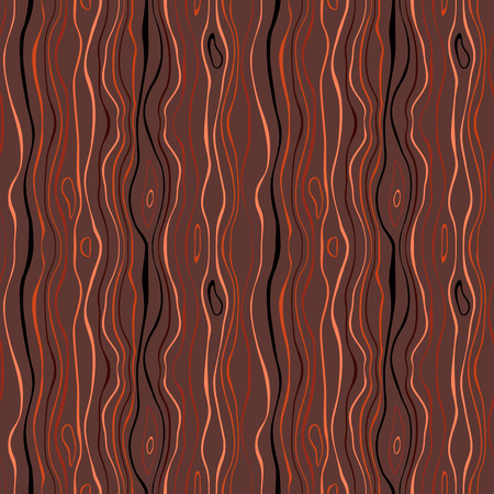 versatile: Seamless striped nature pattern. Vertical narrow wavy lines. Bark, branches of trees, tropical forest theme texture. Brown, orange, black colored background. Vector