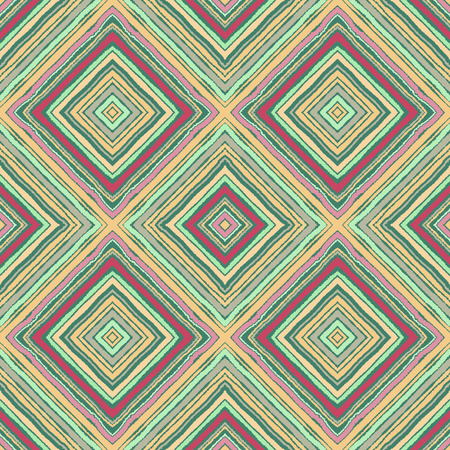 Striped diagonal rectangle seamless pattern. Square rhombus lines with torn paper effect. Ethnic background. Green, yellow, pink, gray colors. Vector