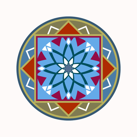aster: Mandala tattoo icon. Geometric round stylized ornament. Harmony, luck, infinity symbol. Olive, red, blue colored. Vector Illustration