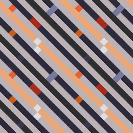 striated: Seamless geometric stripy pattern. Texture of diagonal strips, lines. Rectangles on orange, gray striped background. Vector
