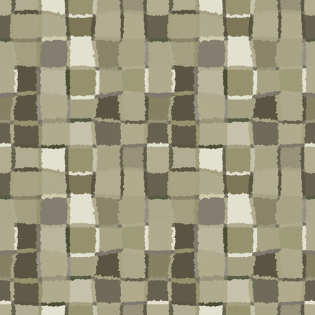 brindled: Seamless geometric mosaic checked pattern. Background of woven rectangles and squares. Patchwork, ceramic, tile texture. Khaki, green, gray colors. Vector Illustration