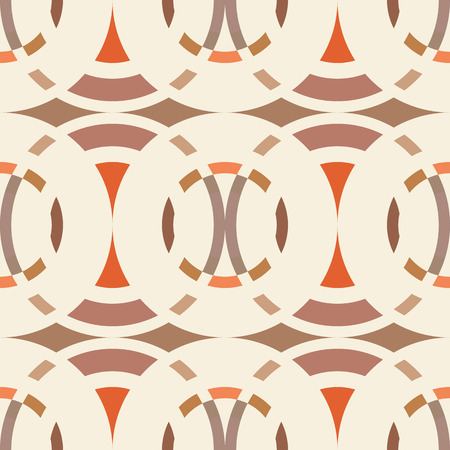 rhombic: Seamless geometric abstract pattern. Rombus, circle view braiding figure texture. Brown, beige, orange colored background. Vector