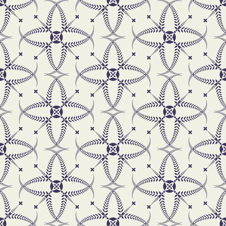 ceremonial: Religion seamless pattern. Laurel wreath, lace view texture with cross. Ceremonial, funeral background. Swirl stylized ornament. Purple, light gray colored. Vector