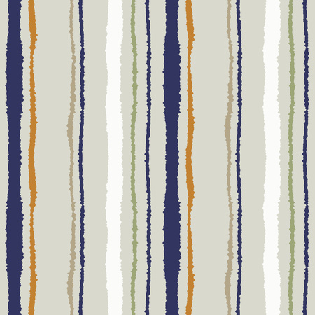 torn edge: Seamless strip pattern. Vertical lines with torn paper effect. Shred edge texture. Olive, gray, orange colored background. Vector