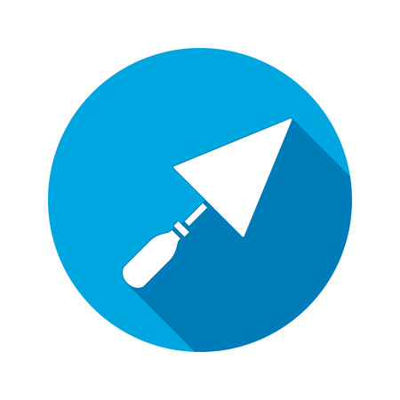 plastering: Tool icon. Spattle, surfacer, plastering instrument. Work, job, labour, toil, repair, building symbol. White sign on round blue button with long shadow. Vector isolated