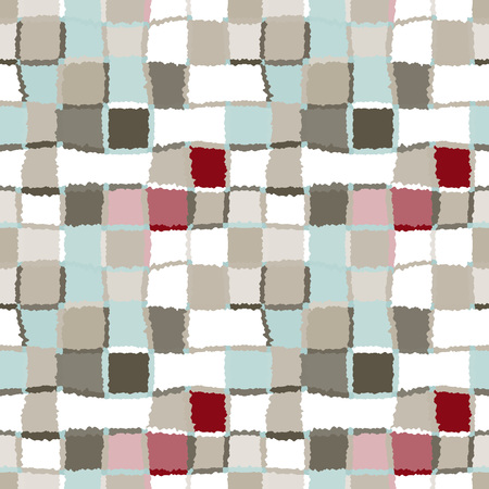brindled: Seamless geometric mosaic checked pattern. Background of woven rectangles and squares. Patchwork, ceramic, tile texture. Khaki, green, gray, vinous, white colors. Vector Illustration