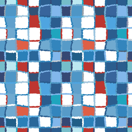 brindled: Seamless geometric mosaic checked pattern. Background of woven rectangles and squares. Patchwork, ceramic, tile texture. Blue, red, white winter colored. Vector
