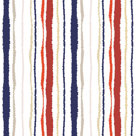 torn edge: Seamless strip pattern. Vertical lines with torn paper effect. Shred edge texture. Gray, orange, purple on white colored background. Vector
