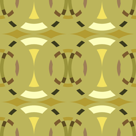 rhombic: Seamless geometric abstract pattern. Rombus, circle view braiding figure texture. Green, brown, yellow colored background. Vector