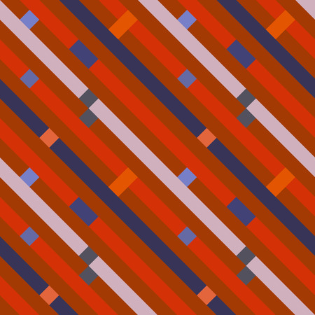 Seamless geometric stripy pattern. Texture of diagonal strips, lines. Rectangles on blue, orange, gray striped background. Hipster colored. Vector Illustration