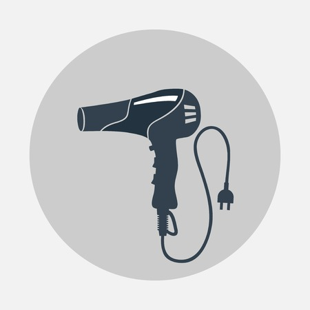 terminator: Blow hairdryer with cord and plug. Professional barber tool, hair care, household symbol. Gray black colored round sign. Vector isolated