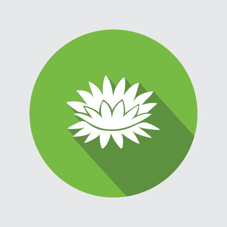 nymphaea: Lily flower icons. Water-lilies floral symbol. Round circle flat icon with long shadow. Vector Illustration