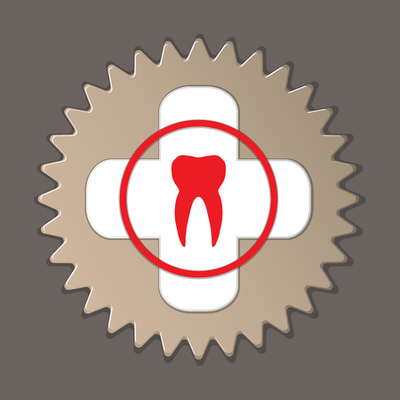 Dentist, stomatologist label icon. Medical symbol of health and medicine. Round insignia sign with shadow on gray background. Vector
