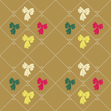 striated: Seamless geometric baby pattern. Texture of diagonal strips, lines, bows. Contrast pink, green, yellow figures on ocher background. Children, hipster colored. Vector